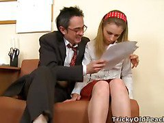 Cute honey came to the teacher's place and assented to please him. The old chap pets her pinkish vagina.