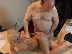 This youthful golden-haired lady doctor knows well how to treat an old dude during the time that medical examination. That Chick applies him a modern therapy which consist in long licking balls, intensive 10-Pounder sucking and fuck