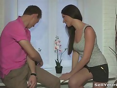 This chap is tired of having it. His girlfriend always demands new stuff and expensive presents, but doesn't wish to work at all. Well, if this chick doesn't wish to do the regular job this babe's intend to give a oral-job to a total stranger and fuck him for cash right in front of her perverted bf. Yeah, that's the kind of a career this lustful teeny would gladly follow. Fucking and getting paid for it is the almost all fine job this chick could ever want for.